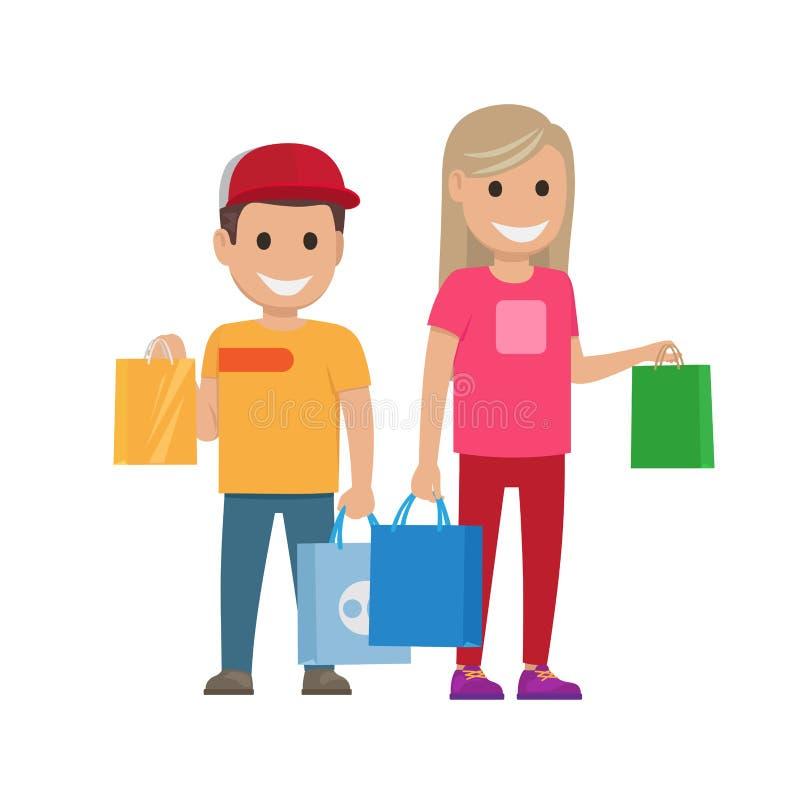 Dziewczyna i chłopiec z torbami Ilustracyjnymi Robić zakupy set ilustracja wektor