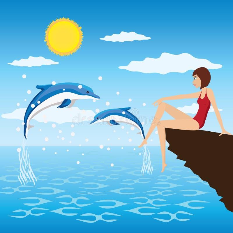 Dziewczyna i delfiny. royalty ilustracja