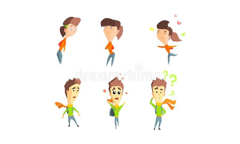 Dziewczyna i facet pokazuje różne emocje ustawiamy, ludzie z różną wyrazu twarzy wektoru ilustracją ilustracja wektor