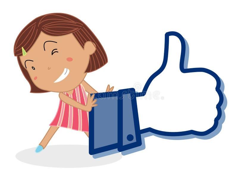 Dziewczyna i kciuk ilustracja wektor