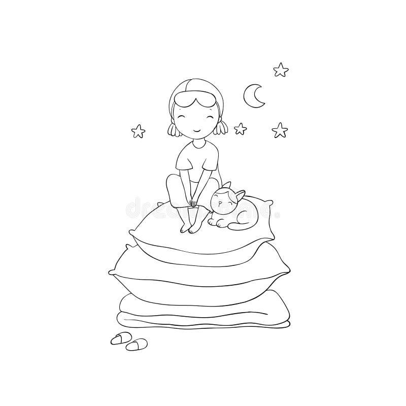 Dziewczyna i koty Wektorowa ilustracja z ptakami i kwiatami słodki sen ilustracja wektor