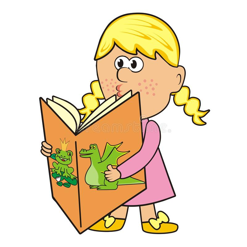 Dziewczyna i książka ilustracji