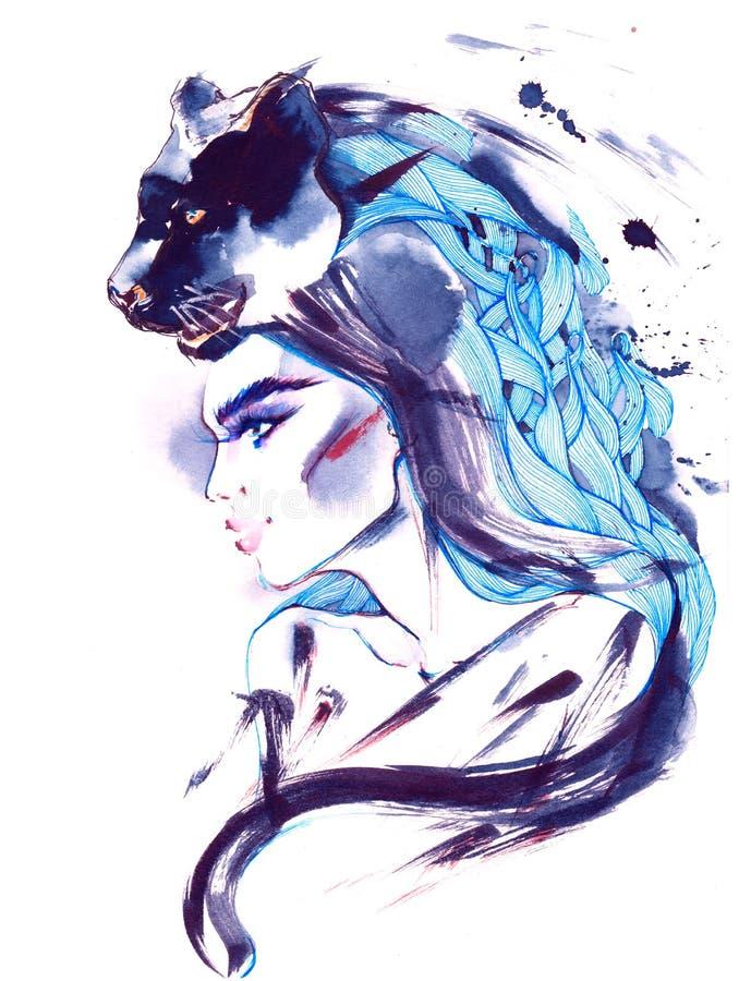 Dziewczyna i pantera ilustracja wektor