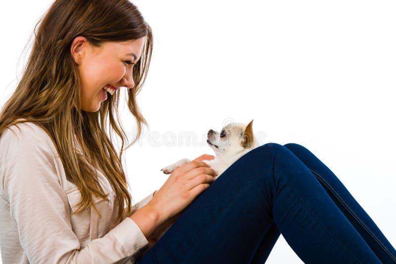 Dziewczyna i pies obrazy stock