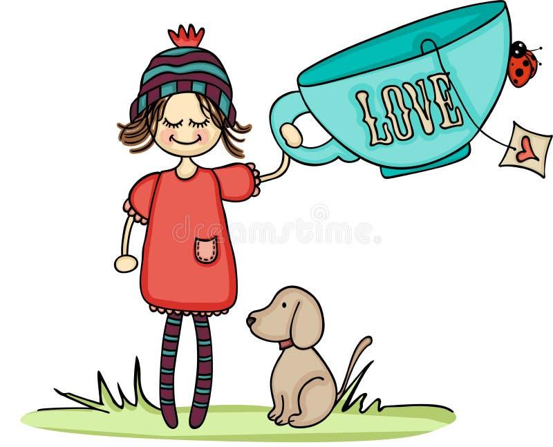 Dziewczyna i pies z dużą miłości filiżanki herbatą ilustracja wektor