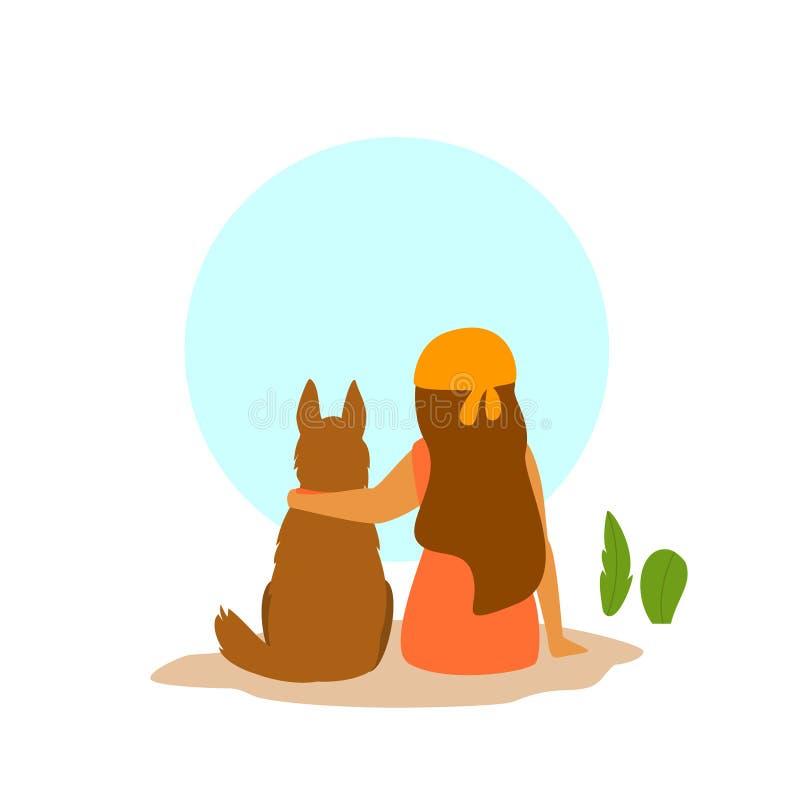 Dziewczyna i psi obsiadania wpólnie zadka widok, najlepszy przyjaciel śliczna wektorowa ilustracja ilustracja wektor