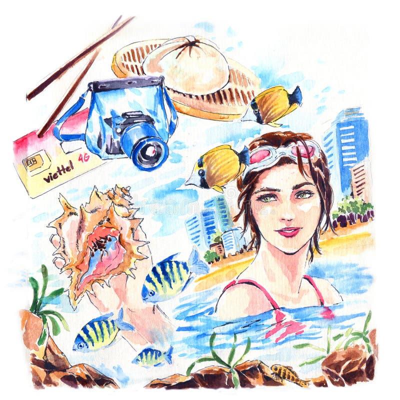 Dziewczyna i snorkel na plaży na wakacjach Ręczne rysowanie w kolorze wodnym ilustracji