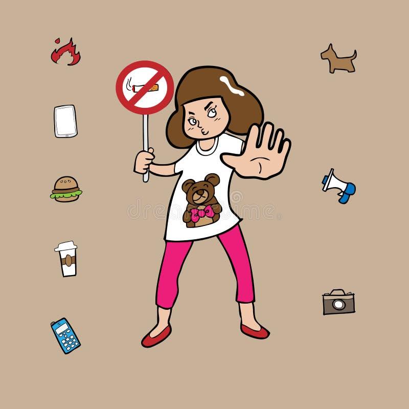 Dziewczyna i zabrania znaka ilustracji