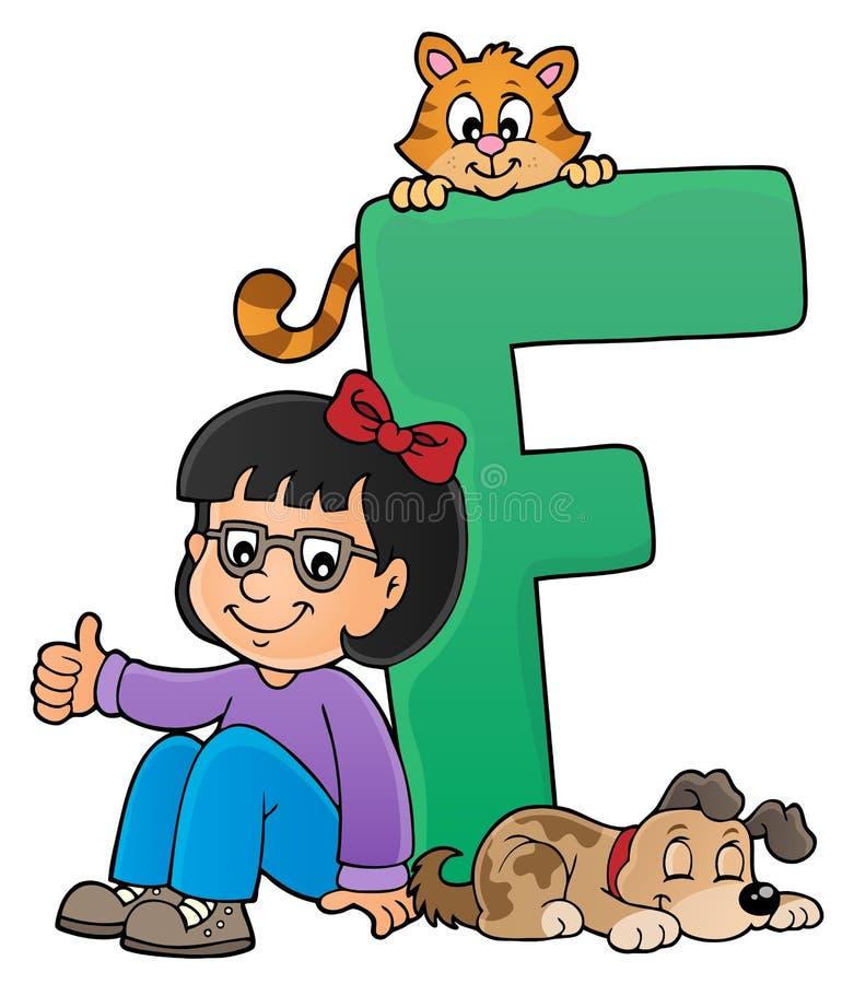 Dziewczyna i zwierzęta domowe z listem F royalty ilustracja