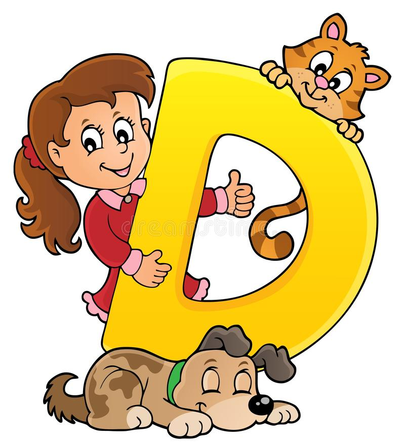 Dziewczyna i zwierzęta domowe z listowy d royalty ilustracja