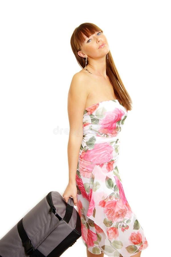 dziewczyna idzie jej wakacje suitcas szczęśliwy obrazy stock