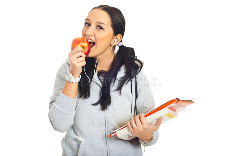 dziewczyna jabłczany zjadliwy uczeń obraz stock