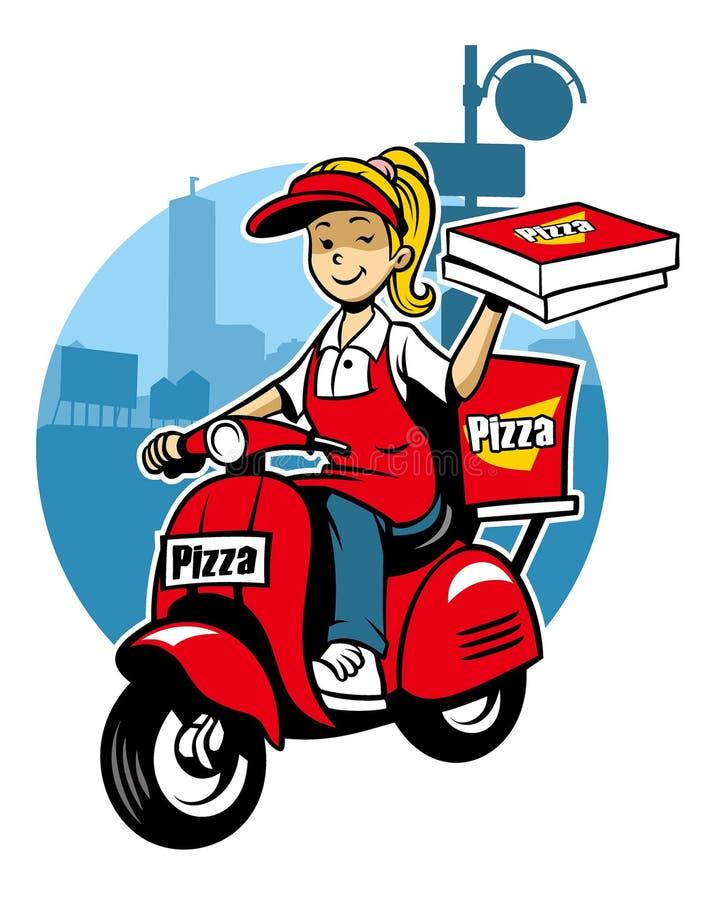 Dziewczyna jako pizzy doręczeniowej usługa przejażdżka hulajnoga royalty ilustracja
