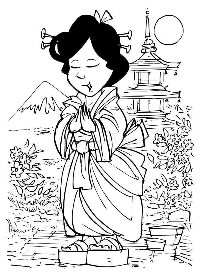 dziewczyna japończyk royalty ilustracja