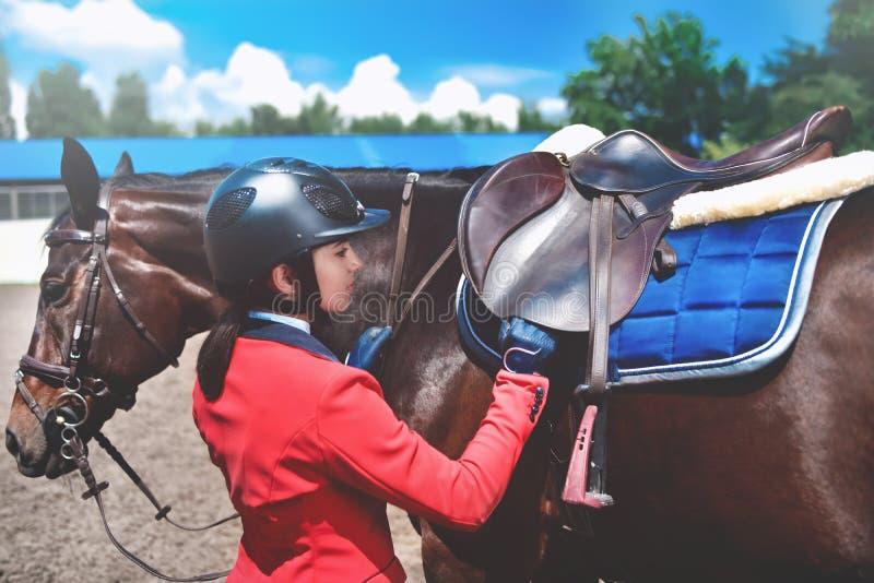 Dziewczyna jeździec przystosowywa comber na jej koniu brać udział w końskich rasach zdjęcie stock