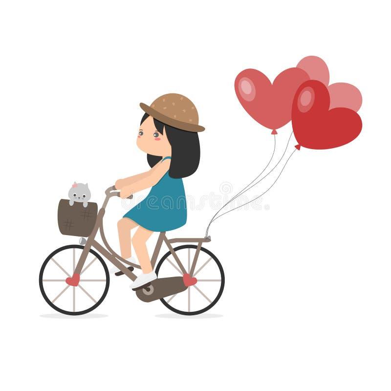 Dziewczyna Jeździecki bicykl Z Kierowymi balonami obrazy royalty free