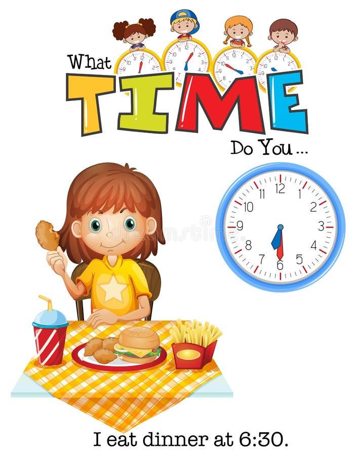 Dziewczyna je gościa restauracji przy 6:30 ilustracji