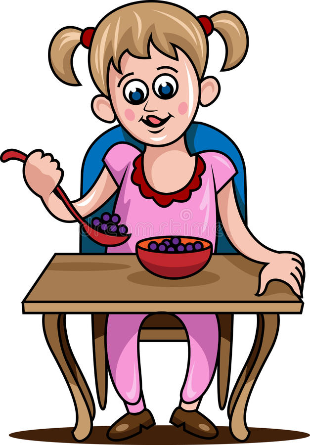 Dziewczyna je jedzenie ilustracja wektor