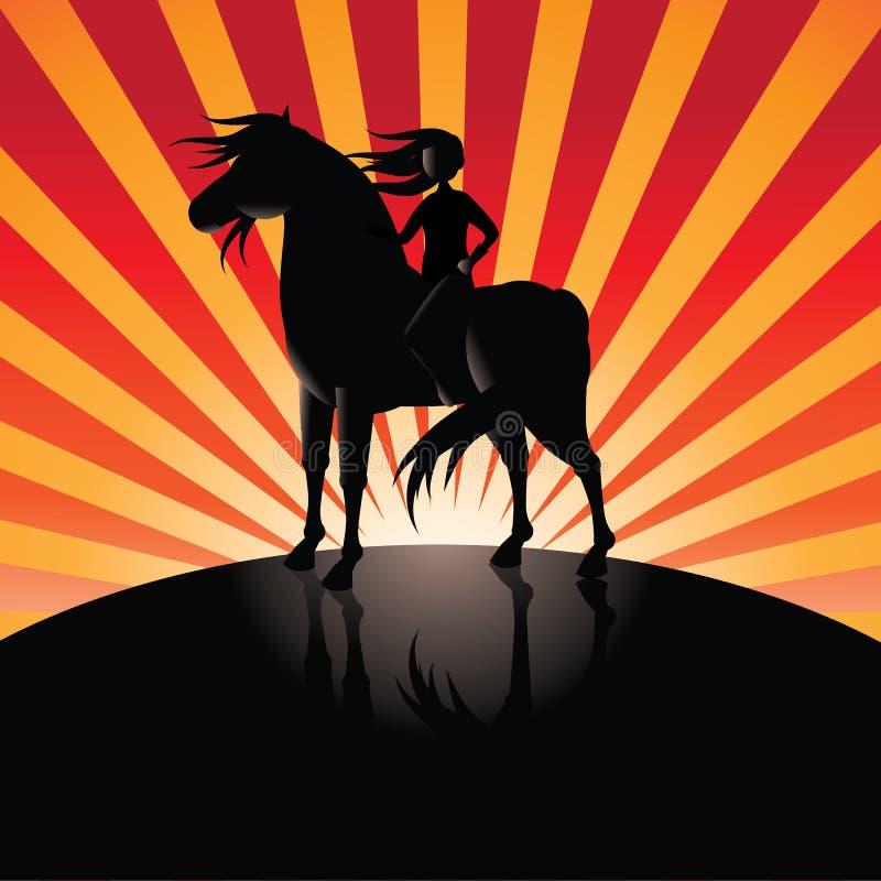 Dziewczyna jedzie Czarnego konia w blasku księżyca wybuchu tle ilustracja wektor
