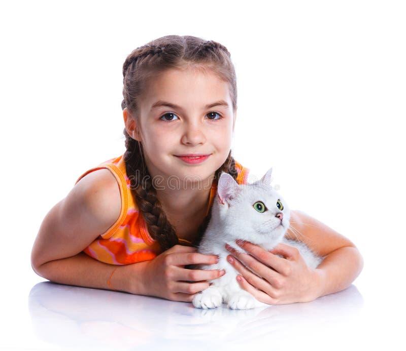 dziewczyna jej kot obrazy royalty free