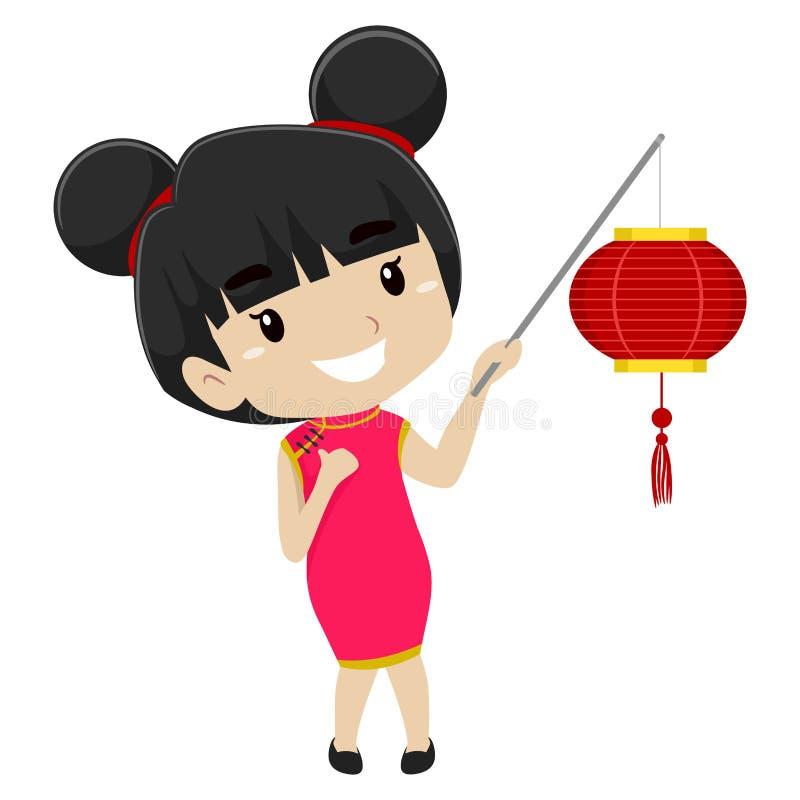 Dziewczyna jest ubranym Chińskiego Kostiumowego mienie chińczyka lampion ilustracji
