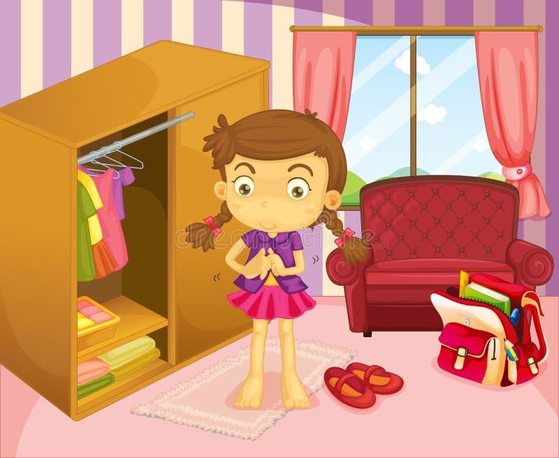 Dziewczyna jest ubranym jej mundur royalty ilustracja