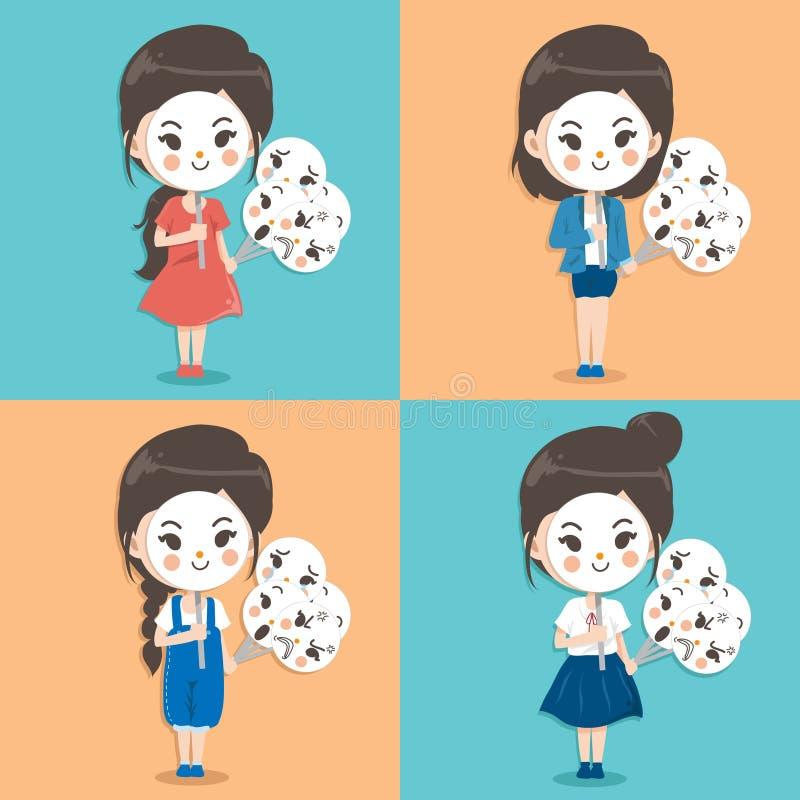 Dziewczyna jest ubranym maskę ilustracja wektor