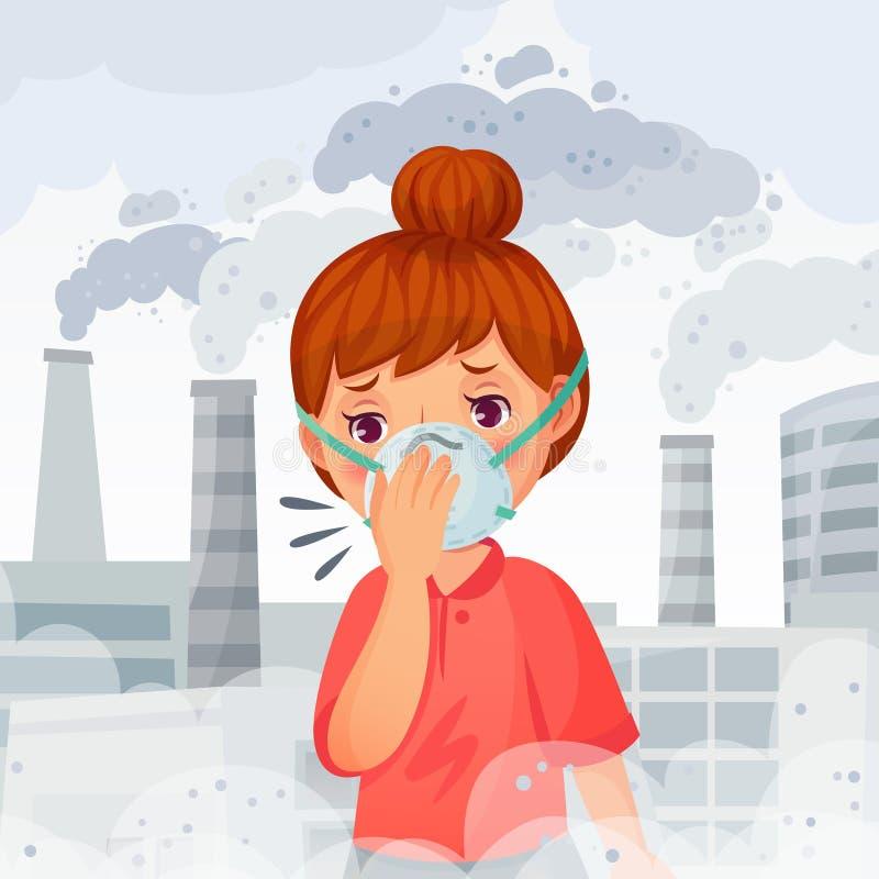 Dziewczyna jest ubranym N95 maskę Młodej kobiety odzieży gacenia twarzy maski, plenerowy PM 2 5 zanieczyszczenie powietrza i odde royalty ilustracja