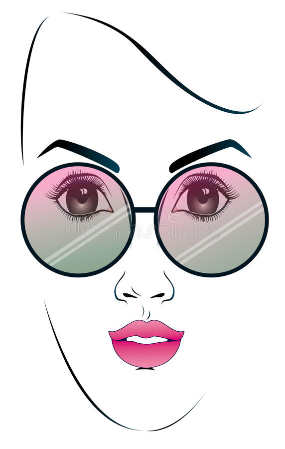Dziewczyna jest ubranym okulary przeciwsłoneczne ilustracja wektor