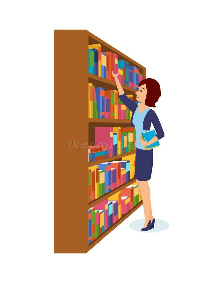 Dziewczyna jest wp8lywy książkami w bibliotece, wybiera koniecznych ones royalty ilustracja