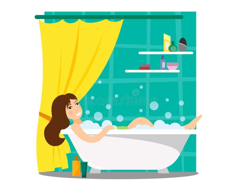 Dziewczyna kąpać w piankowym skąpaniu Czerep wnętrze łazienka z zasłoną i lampasy z prysznic kosmetykami w stylu royalty ilustracja