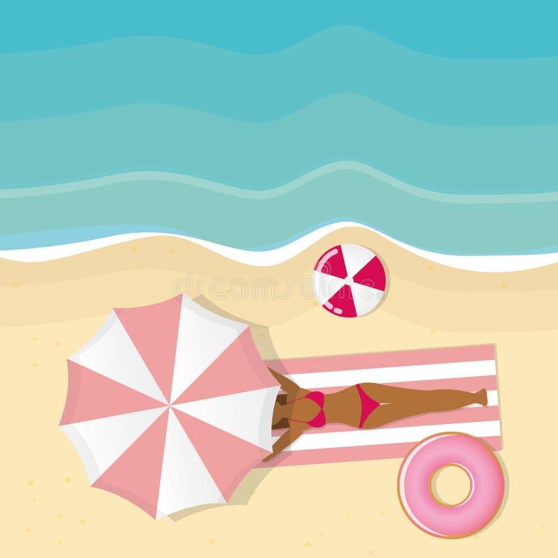 Dziewczyna k?ama pod r??owym parasolem na pla?y ilustracja wektor