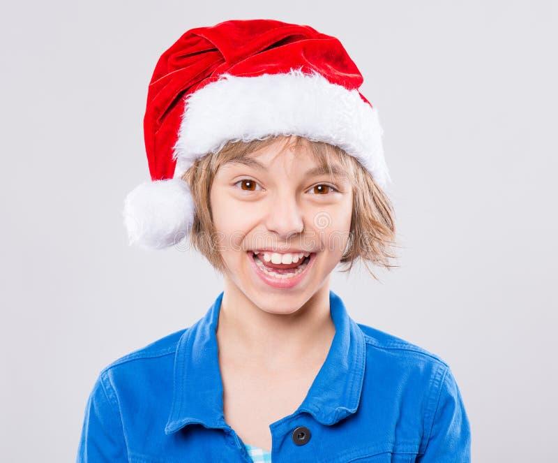 dziewczyna kapelusz mały Mikołaj zdjęcia royalty free