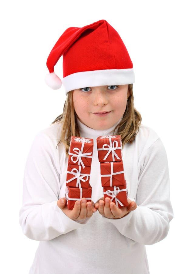 dziewczyna kapelusz odizolowywał małego czerwień biel s Santa zdjęcia stock