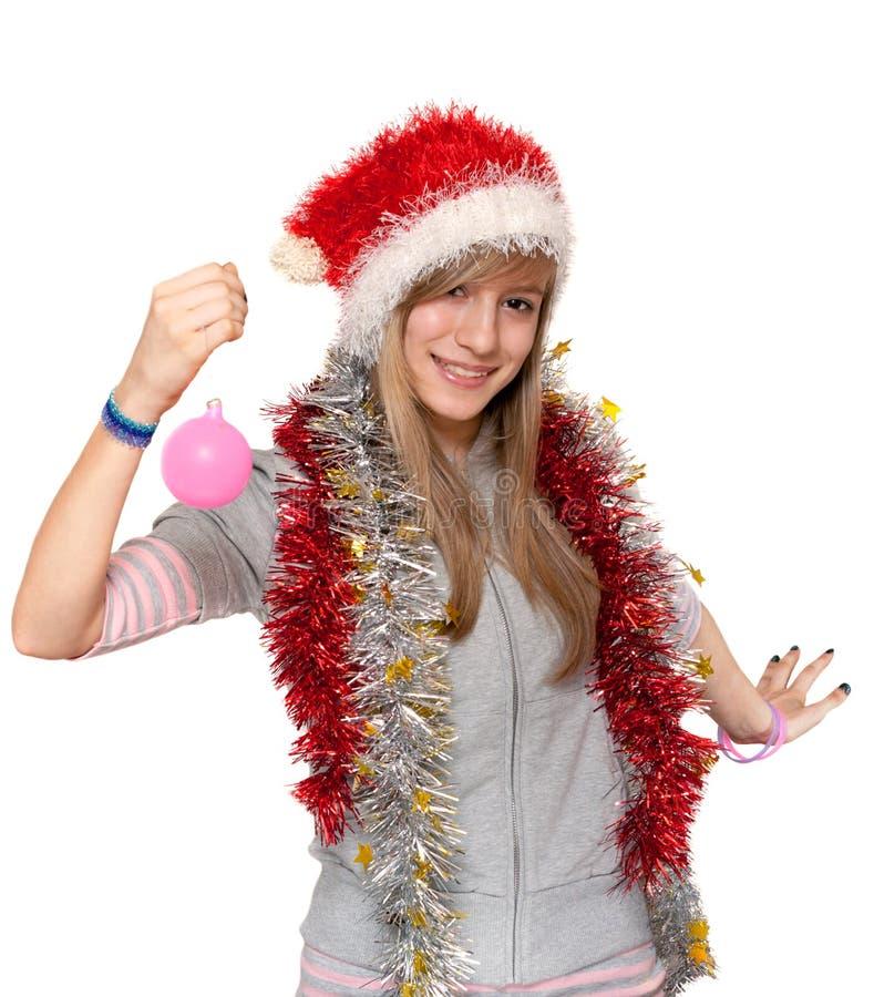 dziewczyna kapelusz Santa zdjęcia stock
