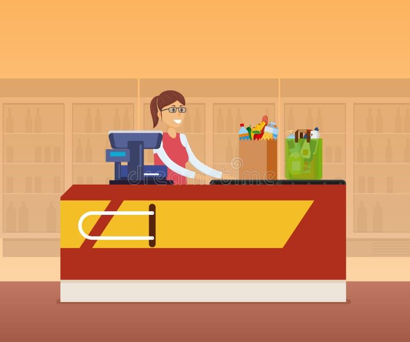 Dziewczyna kasjera personel za kontuarem kasa ilustracji