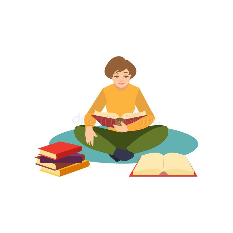 Dziewczyna, kobieta, studencki czytanie, siedzi na podłoga royalty ilustracja