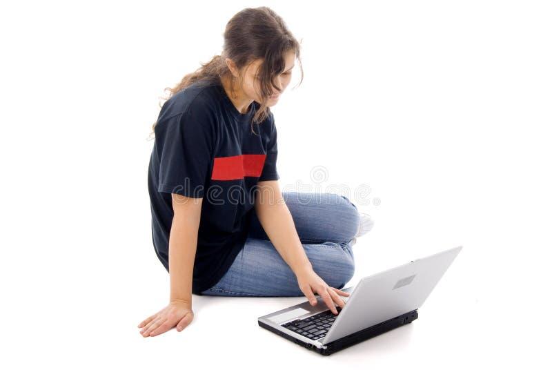 dziewczyna komputerowy nastolatek zdjęcie stock