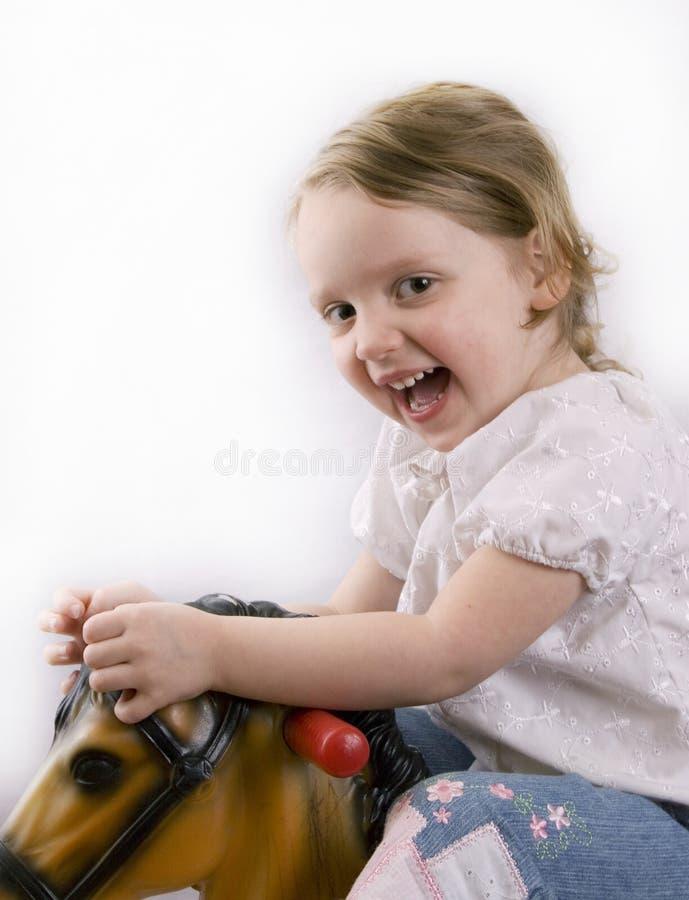 dziewczyna konia zabawka obrazy stock