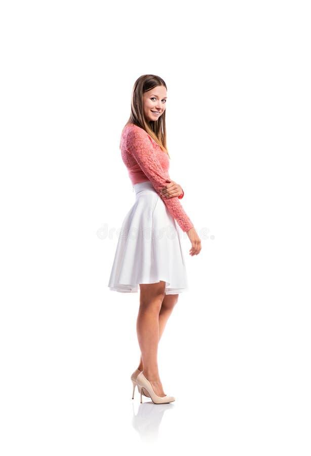 Dziewczyna, Koronka Wierzchołek, Biel Spódnica, Pięty