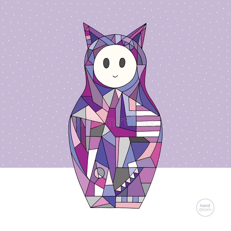 Dziewczyna kota charakteru wektoru ilustracja Ręka rysująca gniazdujący lali tło Matryoshka w nowożytnym stylu ilustracja wektor