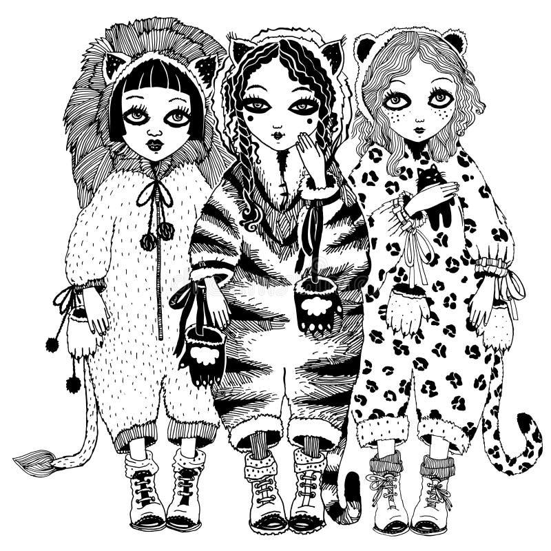 Dziewczyna kota dzicy costums tygrys, lampart, lew ilustracji