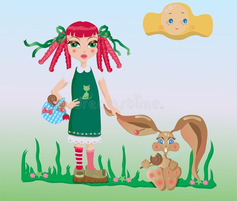 Download Dziewczyna królik ilustracja wektor. Ilustracja złożonej z kreskówka - 13341552