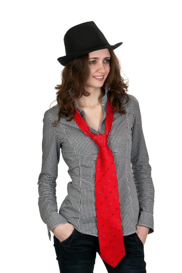 dziewczyna krawat kapeluszowy czerwony fotografia stock