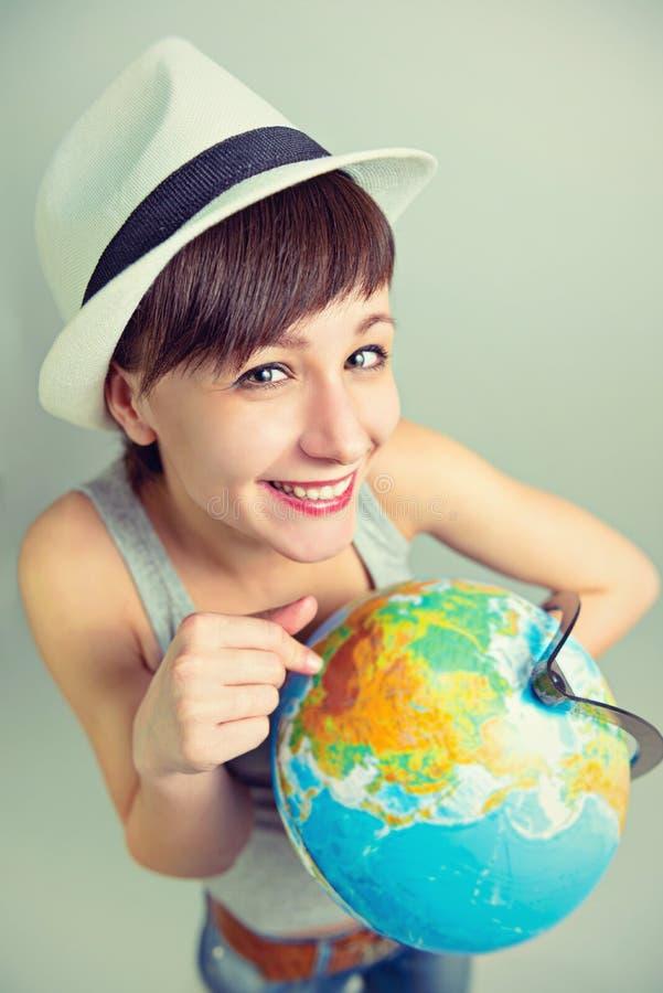 Dziewczyna która kocha podróżować zdjęcia royalty free