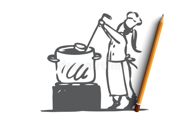 Dziewczyna, kucharstwo, polewka, niecka, szefa kuchni pojęcie Ręka rysujący odosobniony wektor royalty ilustracja