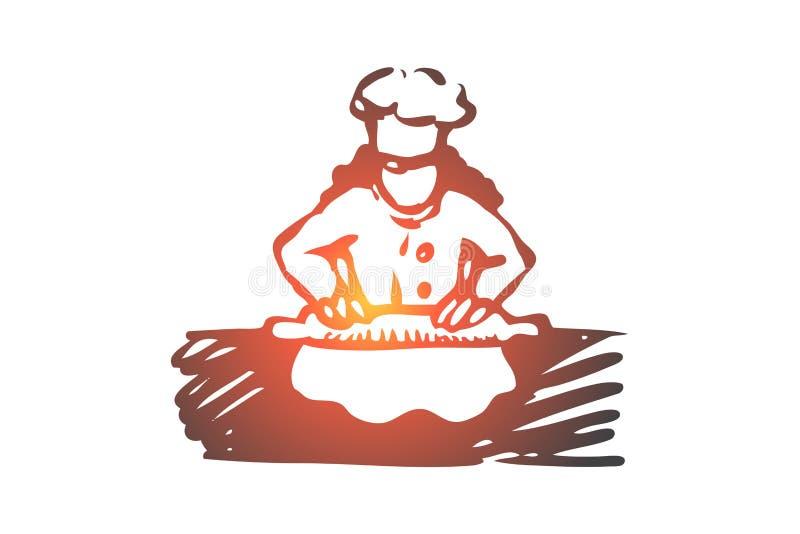 Dziewczyna, kucharz, rolka, ciasto, karmowy pojęcie Ręka rysujący odosobniony wektor ilustracja wektor