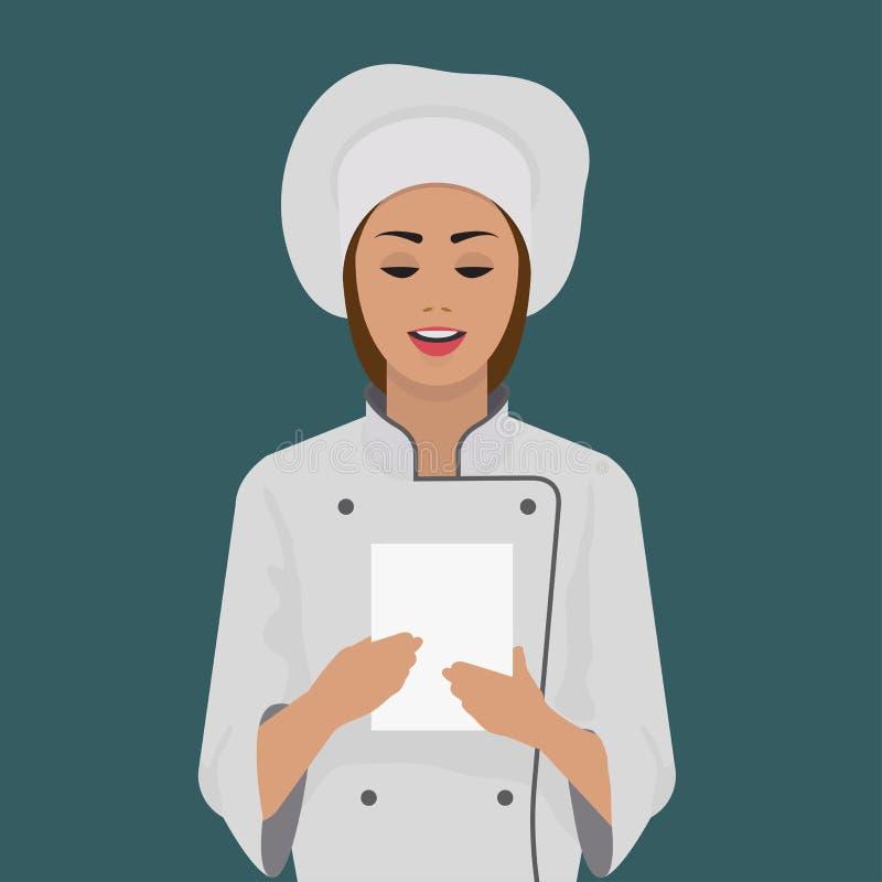 Dziewczyna kucharz utrzymuje kawałek papieru ilustracja wektor