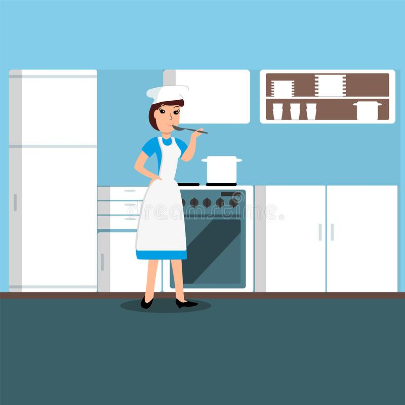 Dziewczyna kucharz w kuchni również zwrócić corel ilustracji wektora royalty ilustracja