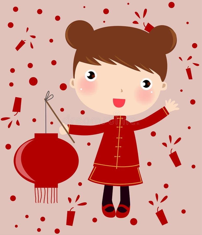dziewczyna lampion ilustracji
